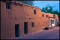 Casa Vieja de Analco, oldest house in the US, at dusk. Santa Fe, New Mexico, USA (color)