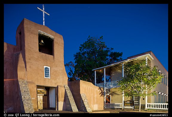 Church of San Miguel by night. Santa Fe, New Mexico, USA (color)