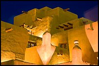 Detail of pueblo style architecture of Loreto Inn. Santa Fe, New Mexico, USA (color)
