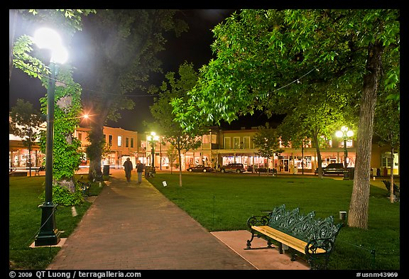 Plazza by night. Santa Fe, New Mexico, USA (color)