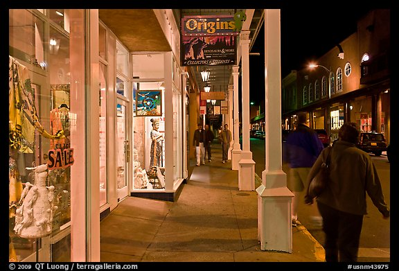 Galleries and sidewak by night. Santa Fe, New Mexico, USA (color)