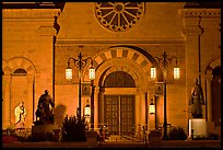 St Francis Cathedral by night. Santa Fe, New Mexico, USA