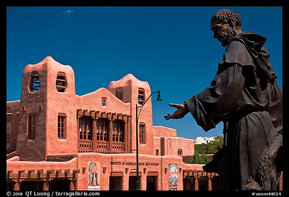 Statue and Institute of American Indian arts museum. Santa Fe, New Mexico, USA (color)