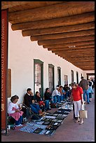 El Palacio Real (oldest public building in the US) with native vendors. Santa Fe, New Mexico, USA (color)