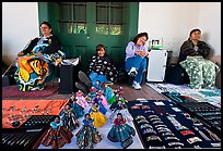 Native american women selling crafts. Santa Fe, New Mexico, USA (color)