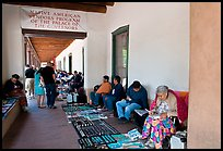 Native americans selling in front of the Palace of the Governors. Santa Fe, New Mexico, USA ( color)