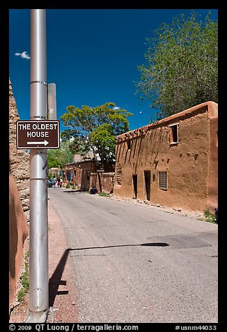 Street with Oldest House sign. Santa Fe, New Mexico, USA (color)