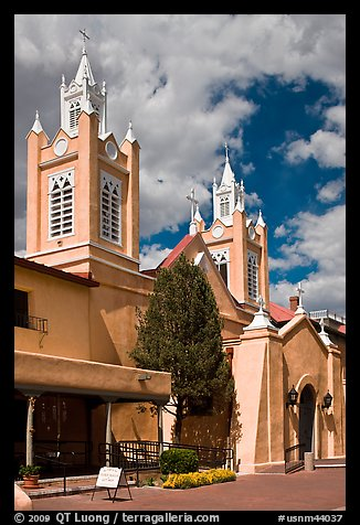 Historic San Felipe de Neri Church on plaza. Albuquerque, New Mexico, USA (color)