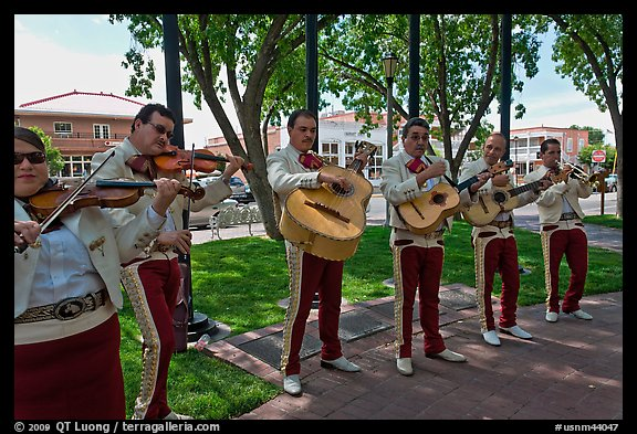 Mariachi band on old town plazza. Albuquerque, New Mexico, USA (color)