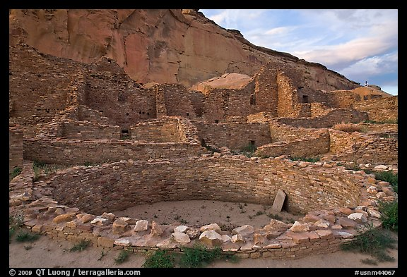 Kiva and multi-storied roomblocks, Pueblo Bonito. Chaco Culture National Historic Park, New Mexico, USA (color)