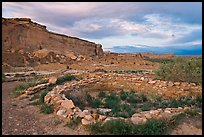 Great Kiva and cliff at sunset, Pueblo Bonito. Chaco Culture National Historic Park, New Mexico, USA (color)
