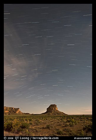 Star trails over Fajada Butte. Chaco Culture National Historic Park, New Mexico, USA (color)