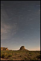Star trails over Fajada Butte. Chaco Culture National Historic Park, New Mexico, USA ( color)