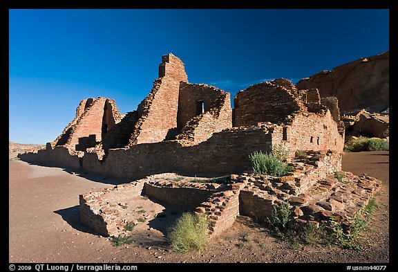 Pueblo Bonito, early morning. Chaco Culture National Historic Park, New Mexico, USA (color)