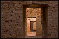 Ancient masonery walls and doors. Chaco Culture National Historic Park, New Mexico, USA (color)