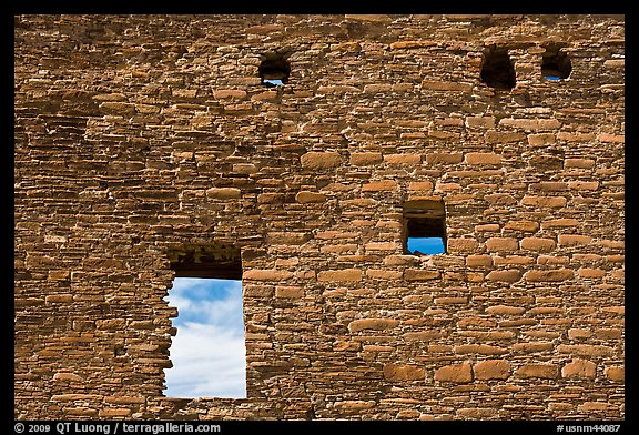 Masonery wall with openings. Chaco Culture National Historic Park, New Mexico, USA (color)
