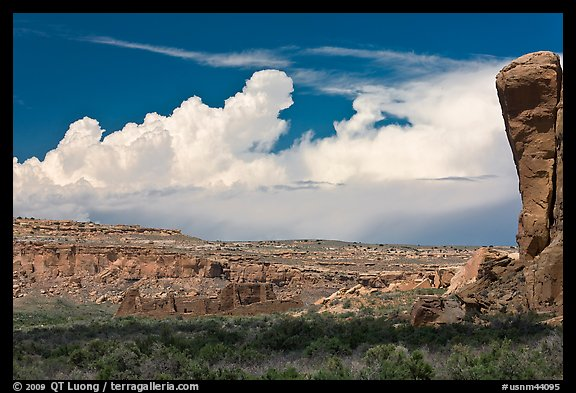 Pueblo Bonito, cliff, and clouds. Chaco Culture National Historic Park, New Mexico, USA (color)