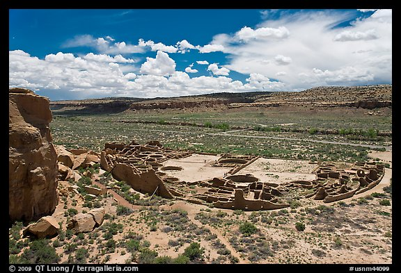 Pueblo Bonito from above. Chaco Culture National Historic Park, New Mexico, USA (color)