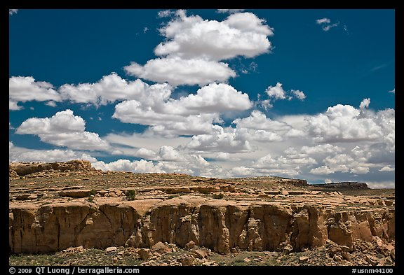 Cliff and clouds. Chaco Culture National Historic Park, New Mexico, USA