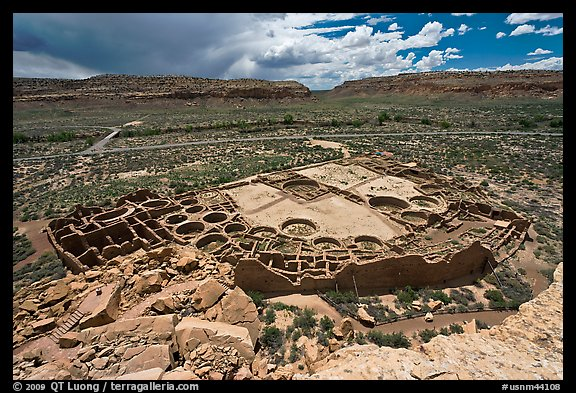 Ancient pueblo complex layout seen from above. Chaco Culture National Historic Park, New Mexico, USA (color)