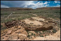 Ancient pueblo complex layout seen from above. Chaco Culture National Historic Park, New Mexico, USA ( color)
