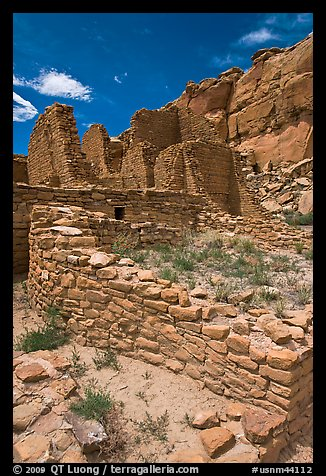 Masonery walls, Kin Kletso. Chaco Culture National Historic Park, New Mexico, USA