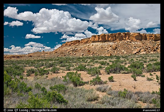 Rim cliffs and clouds. Chaco Culture National Historic Park, New Mexico, USA (color)