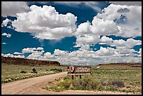 Sign and road at the entrance. Chaco Culture National Historic Park, New Mexico, USA ( color)