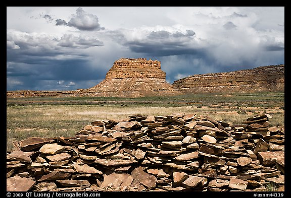 Wall and Fajada Butte, afternoon. Chaco Culture National Historic Park, New Mexico, USA (color)