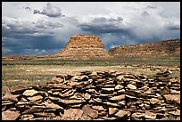 Wall and Fajada Butte, afternoon. Chaco Culture National Historic Park, New Mexico, USA ( color)