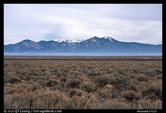 Sagebrush plateau incised by Rio Grande Gorge and Sangre De Cristo Mountains. Rio Grande Del Norte National Monument, New Mexico, USA (color)
