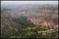 Distant view of Frijoles Canyon in autumn. Bandelier National Monument, New Mexico, USA ( color)