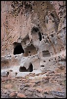 Dwellings in cavates in volcanic tuff of canyon wall. Bandelier National Monument, New Mexico, USA ( color)