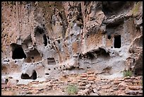 Walls built on Frijoles Canyon floor and dwellings in cavates. Bandelier National Monument, New Mexico, USA ( color)