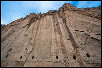 Cliff with cave dwellings. Bandelier National Monument, New Mexico, USA ( color)
