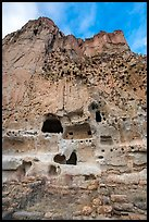 Cliff with dwellings in cavates. Bandelier National Monument, New Mexico, USA ( color)