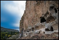 Tuff cliff with cave dwellings, Frijoles Canyon. Bandelier National Monument, New Mexico, USA ( color)