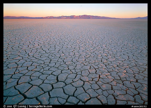 Cracked mud flat at sunrise, Black Rock Desert. Nevada, USA (color)