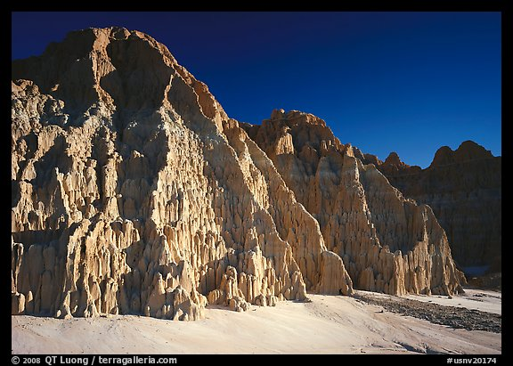 Cathedral-like spires and buttresses, Cathedral Gorge State Park. Nevada, USA (color)