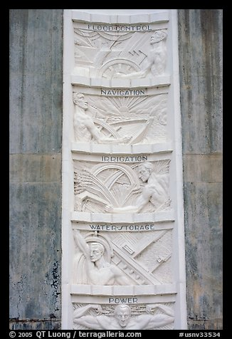 Bas-relief in Art Deco style. Hoover Dam, Nevada and Arizona