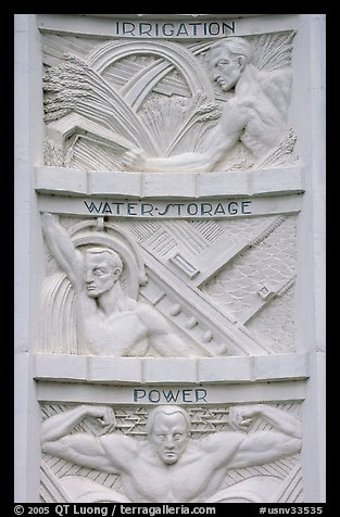 Detail of bas-relief  celebrating benefits of the dam, Hoover Dam. Hoover Dam, Nevada and Arizona (color)