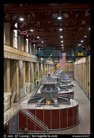Generators in the power plant. Hoover Dam, Nevada and Arizona (color)