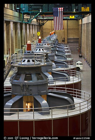 Row of electrical generators. Hoover Dam, Nevada and Arizona (color)