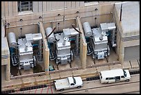 Transformers on  ramp outside the power plant. Hoover Dam, Nevada and Arizona (color)