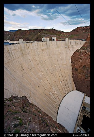 Profile view of arch-gravity dam. Hoover Dam, Nevada and Arizona (color)