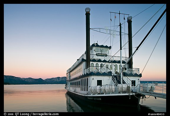 Tahoe Queen paddle boat at dawn, South Lake Tahoe, Nevada. USA (color)