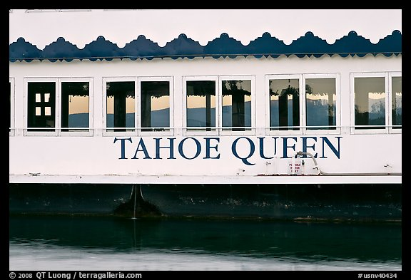 Side of Tahoe Queen boat with mountains seen through, South Lake Tahoe, Nevada. USA (color)