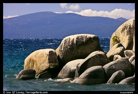 Boulders, lake, and mountains, Lake Tahoe-Nevada State Park, Nevada. USA (color)