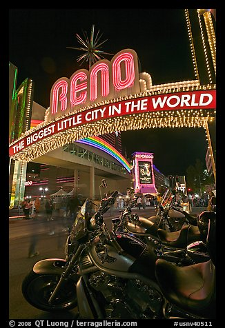 Motorbikes and neon sign at night. Reno, Nevada, USA (color)