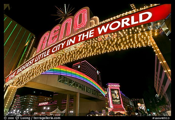 Biggest little city in the world neon sign. Reno, Nevada, USA (color)